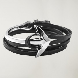 Bracelet en cuir noir Anchor Curvada