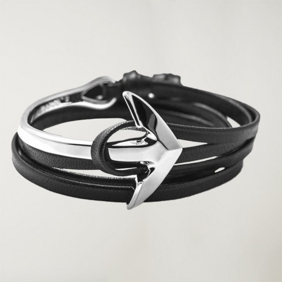 Leather Bracelet Black Curved Anchor
