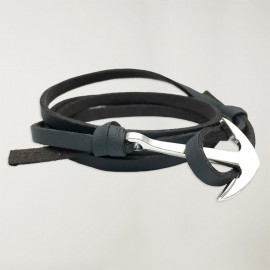 Schwarz Anker-Armband Leder