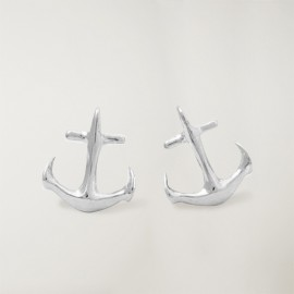 Earrings, Silver, Anchor Logo
