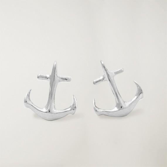 Earrings, Silver, Anchor Logo