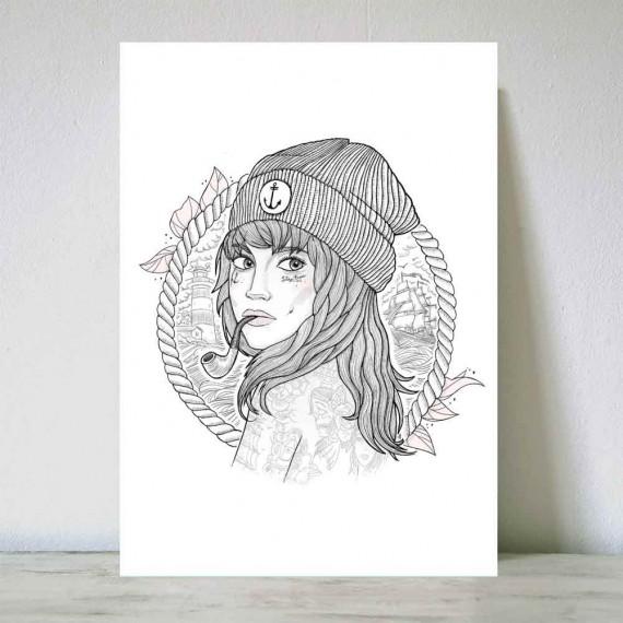 Illustration Blanc The Women Captain DIN A3