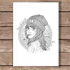 Illustration White The Women Captain DIN A3