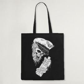 Baumwolltasche Schwarz Drunk Skull Sailor