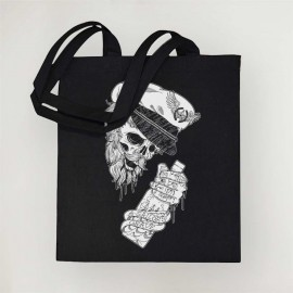 Borsa in cotone Nera Drunk Skull Sailor
