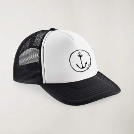 """Cap """"Viento"""" Schwarz und Weiß - The Anchor Logo mit Stickerei"""