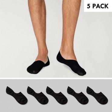 5 Pack Invisible Socks Men Black Viento Basics