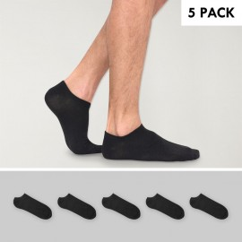 5 Pack Invisible Socks Men Black Viento Basics