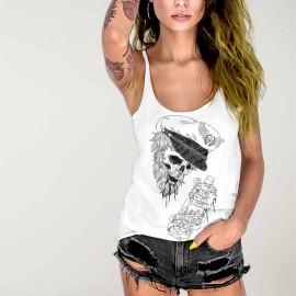 Camiseta de tirantes de Mujer Blanca Drunk Skull Sailor