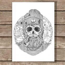 Große Illustration Weiß Sailing Ghost