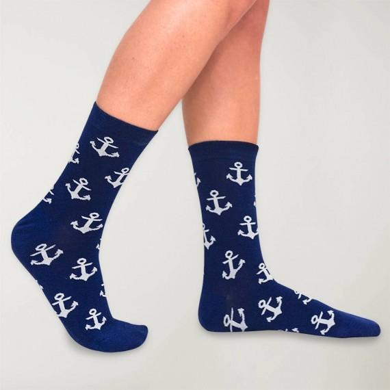 Women Socks Anchor Plot Navy