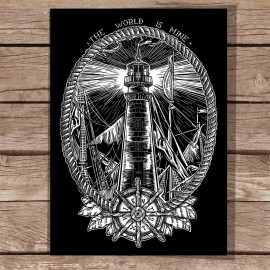 Big Illustration Black Night Lighthouse