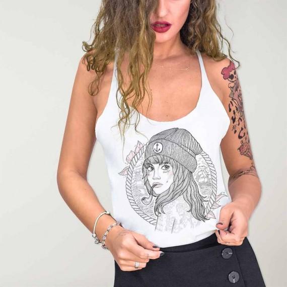 Camiseta de tirantes de Mujer Blanca Women Captain