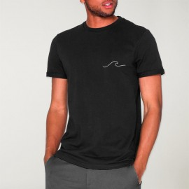 Men T-Shirt Black Waves