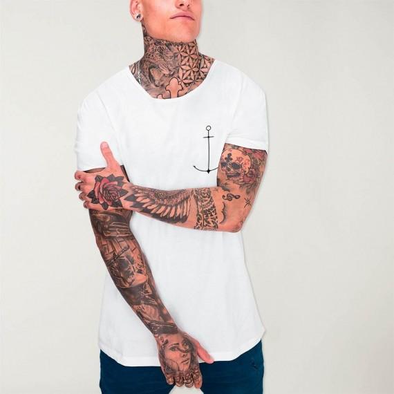 Men T-Shirt Open neck White Minimal Anchor