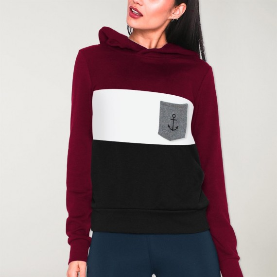Women Hoodie Navy Patch Special Pocket