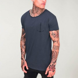 Men T-Shirt Open neck Ocean Minimal Anchor