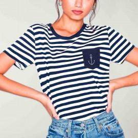 T-shirt Femme Blanc /Bleu Marine Sailor Pocket Anchor