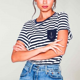 T-shirt Femme Blanc /Bleu Marine Sailor Pocket Anchor