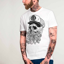 Men T-Shirt White Skull Mattketmo