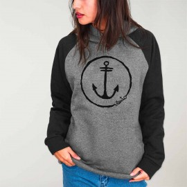 Women Hoodie Gray/Black Baseball Sport Anchor Logo