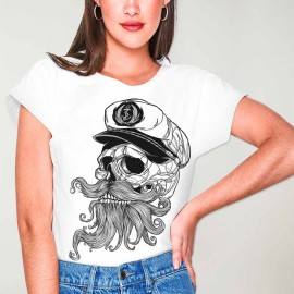 Women T-shirt White Skull Mattketmo