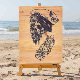 Wooden Table Drunk Skull