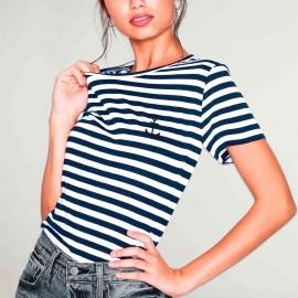 Camiseta de Mujer Blanca / Azul Marino La Marinera