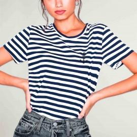 Maglietta Donna Bianca / Blu Navy La Marinera