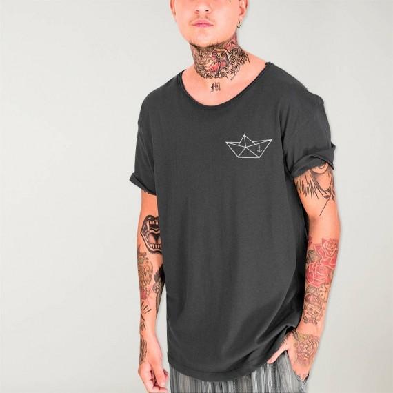 Men T-Shirt Open neck Charcoal Anchored Paper Ship