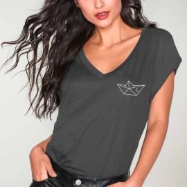 Women T-shirt V-neck Charcoal Anchored Paper Ship