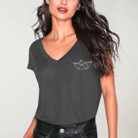 T-shirt mit V-Ausschnitt Damen Anthrazitgrauer Anchored Paper Ship