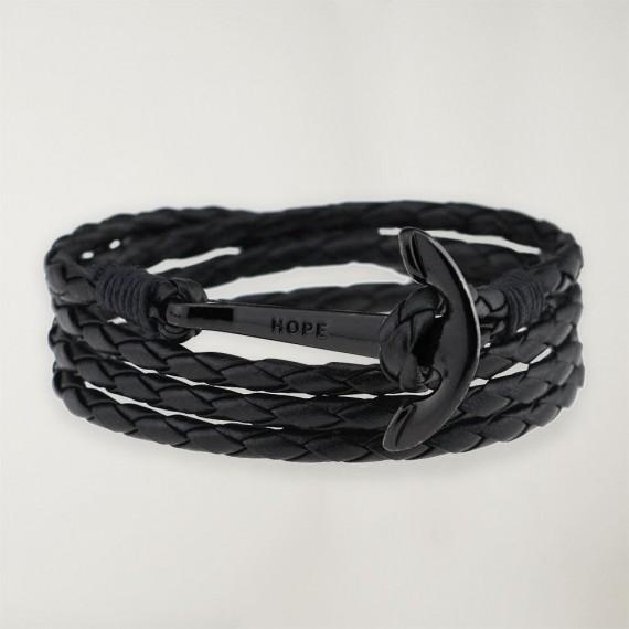Black Leather Bracelet Anchor Black Hope