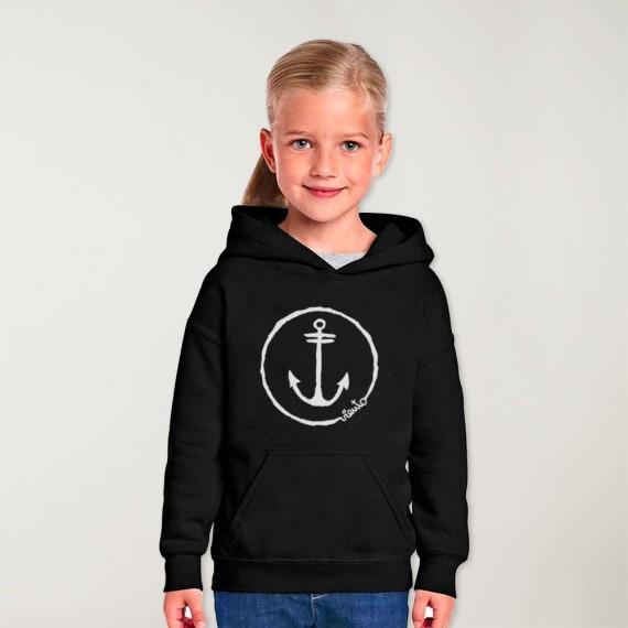 Sweat à capuche Garçon Noir Anchor Logo