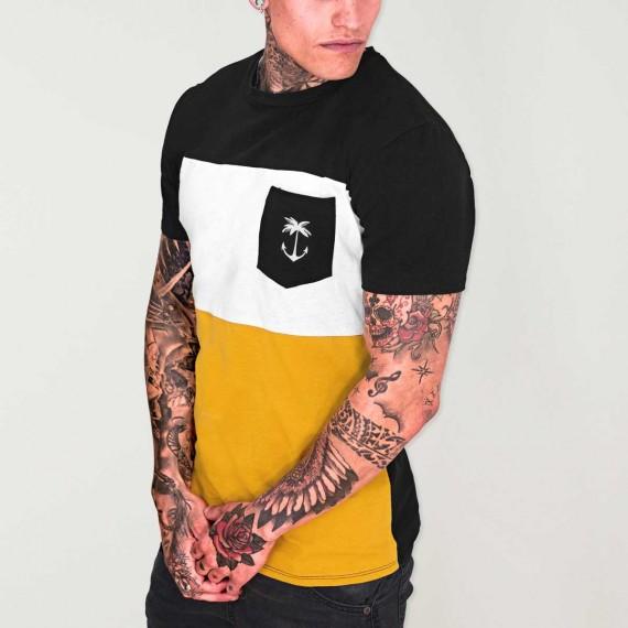 Men T-Shirt Black Patch Pocket Tropical Anchor
