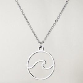 Necklace Unisex Silver Waves