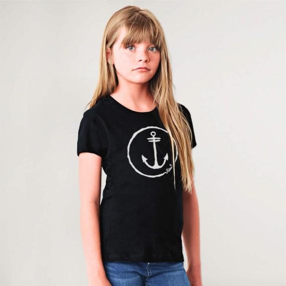 T-shirt Girl Black Anchor Logo