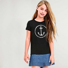 T-shirt Girl Black Anchor Logo