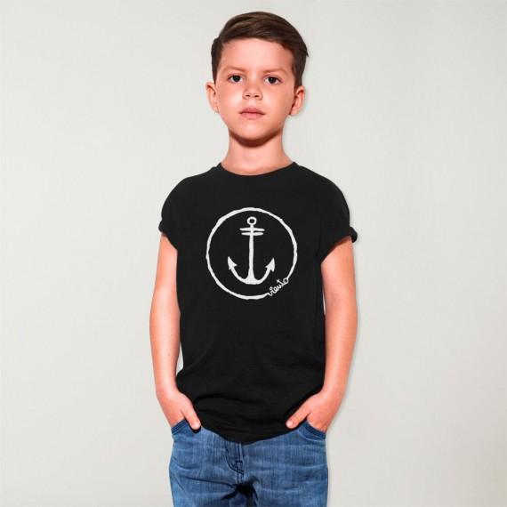 T-shirt Boy Black Anchor Logo