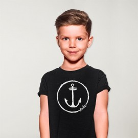 T-shirt Boy Black Anchor Logo