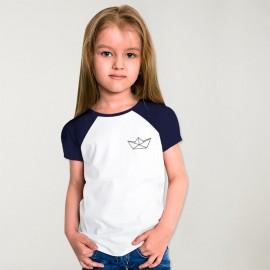 Camiseta de Niña Blanca / Azul Marino Baseball Paper Ship