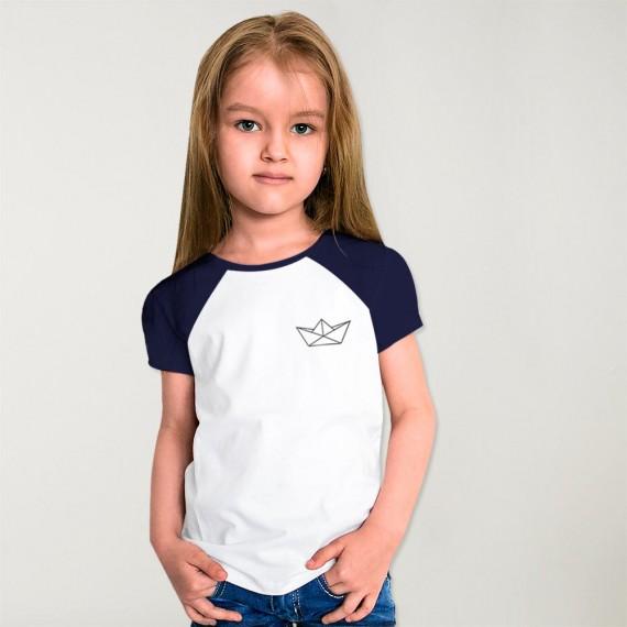 T-shirt Fille Blanc / Bleu Marine Baseball Paper Ship