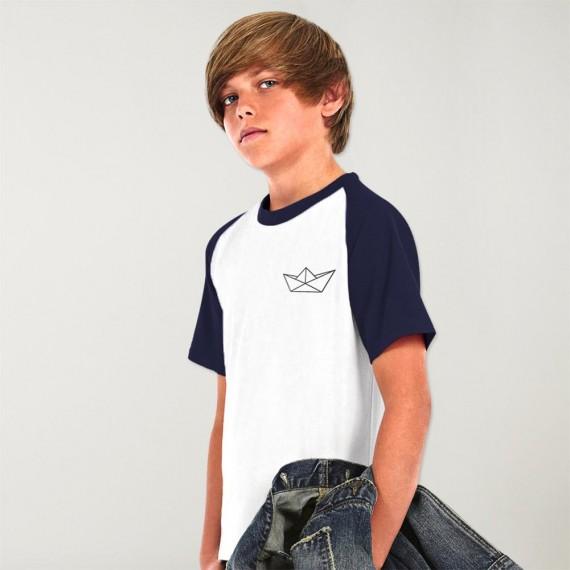 Camiseta de Niño Blanca / Azul Marino Baseball Paper Ship