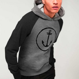 Men Hoodie Gray/Black Baseball Sport Anchor Logo