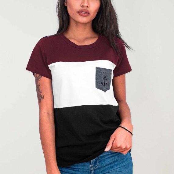 Women T-shirt Black Patch Special Pocket