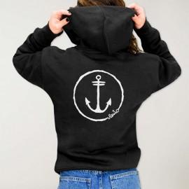 Viento Logo Hoodie with zipper Black