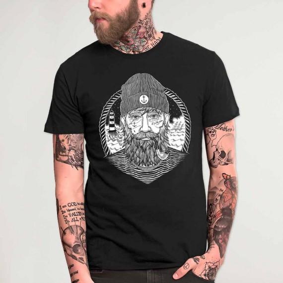 Men T-Shirt Black Dark Captain