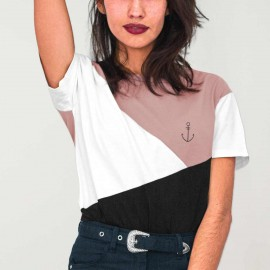 Women T-Shirt Pink Triforce Anchor Simple