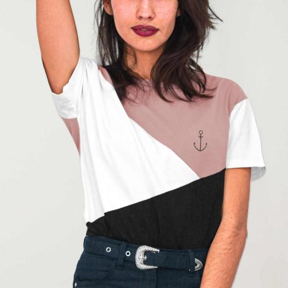 T-shirt Femme Rose Triforce Anchor Simple