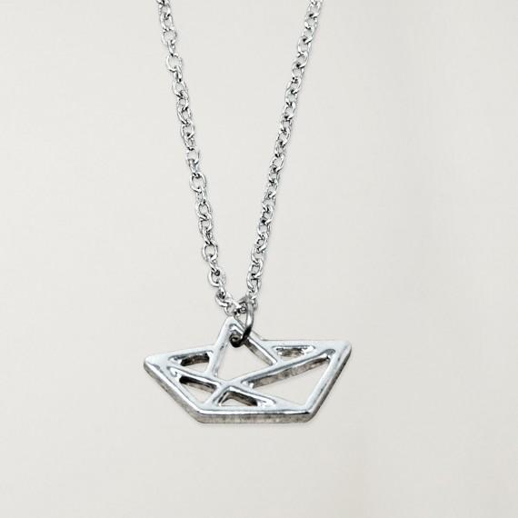 Necklace Unisex Silver Paper Ship